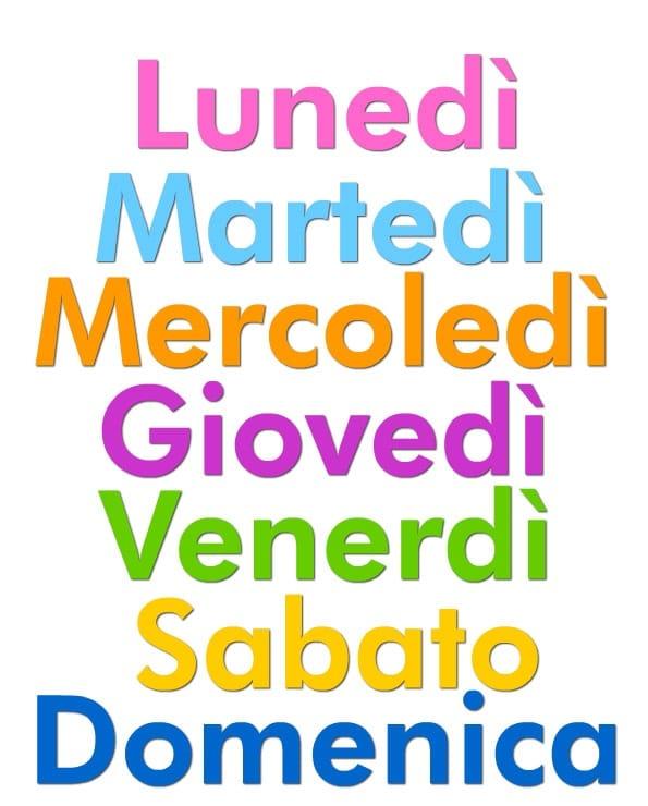 روز های هفته در زبان ایتالیایی